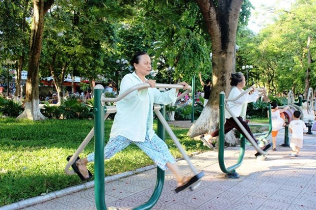 Parks become free gyms in Hanoi hinh anh 1