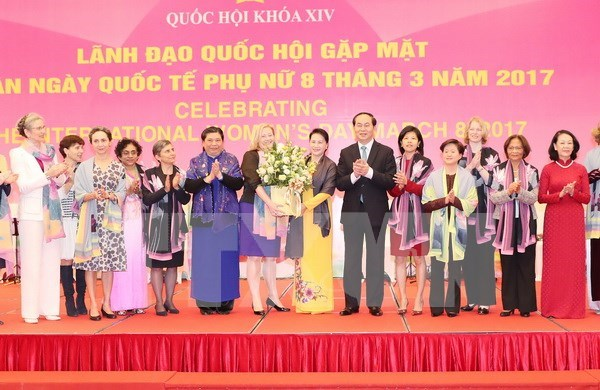 NA leaders meet female foreign diplomats in Vietnam hinh anh 1