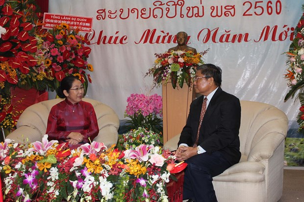 HCM City leaders congratulate Laotians on Bunpimay festival hinh anh 1