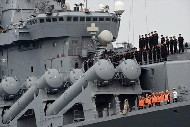Russian naval ships call at Cam Ranh Port hinh anh 1