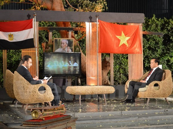 President Ho highlighted in live broadcast on Egyptian channel hinh anh 1