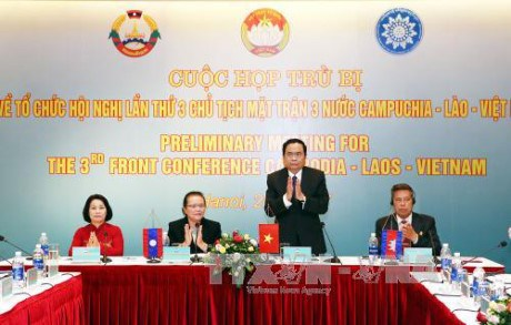 Preparations for Vietnam-Laos-Cambodia front conference discussed hinh anh 1