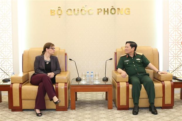 Defence minister receives outgoing Israeli ambassador hinh anh 1