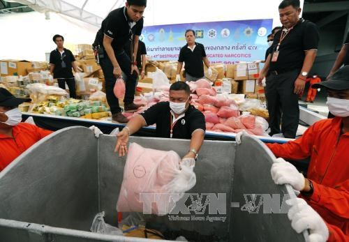 Myanmar, Thailand dispose seized drugs worth one billion USD hinh anh 1