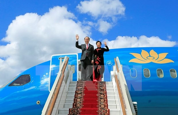 President Tran Dai Quang arrives in Moscow, starting official visit to Russia hinh anh 1