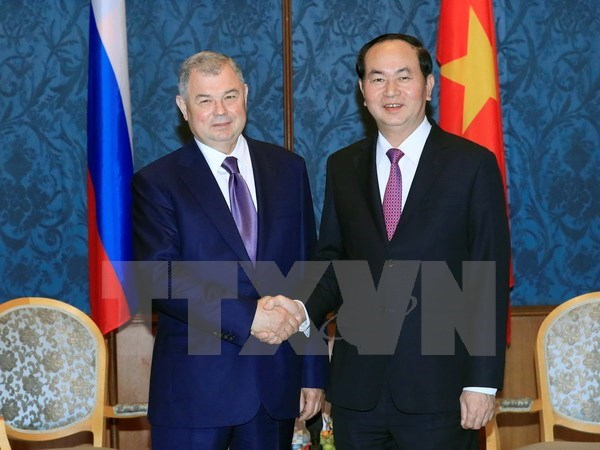 President Tran Dai Quang leaves Moscow for Saint Petersburg hinh anh 1
