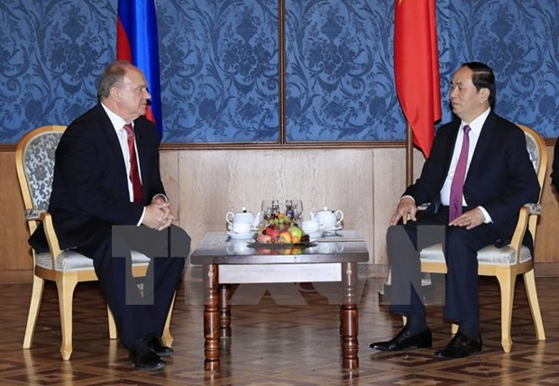 President Tran Dai Quang meets Russian Communist Party leader hinh anh 1