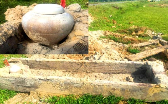 Ancient treetrunk coffin unearthed in Ha Tinh province hinh anh 1