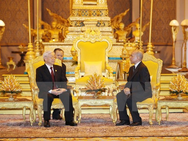 Party chief, Cambodian King hold talks in Phnom Penh hinh anh 1