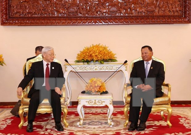 Party leader meets with Cambodian Senate President hinh anh 1