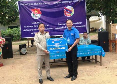 Hanoi's youths begin voluntary activities in Vientiane hinh anh 1
