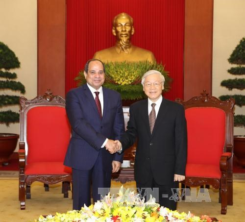 Party leader receives Egyptian President hinh anh 1