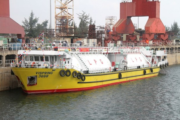 Dung Quat Shipyard's first gas carrier launched hinh anh 1