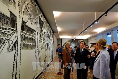 Vietnam-RoK fine arts exhibition opens in HCM City hinh anh 1