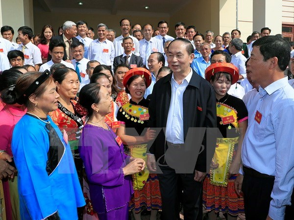 President Tran Dai Quang joins national solidarity festival hinh anh 1