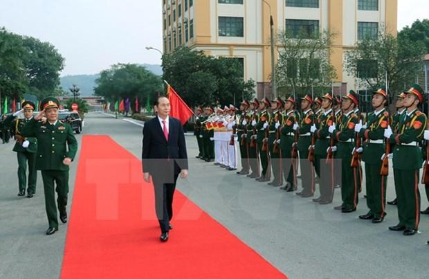 President Tran Dai Quang visits Military Region 1 hinh anh 1