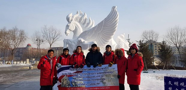 Thai college takes top honour at int'l snow sculpture contest hinh anh 1
