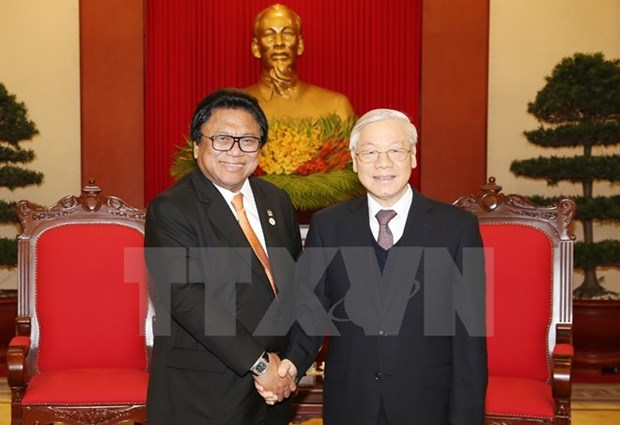 Party, State leaders receive Indonesian upper house speaker hinh anh 1