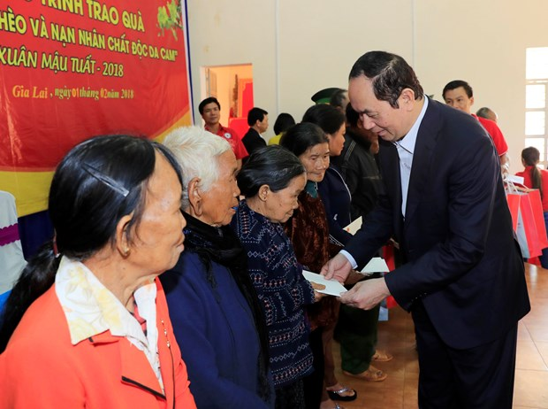 President visits Gia Lai province ahead of Tet hinh anh 1