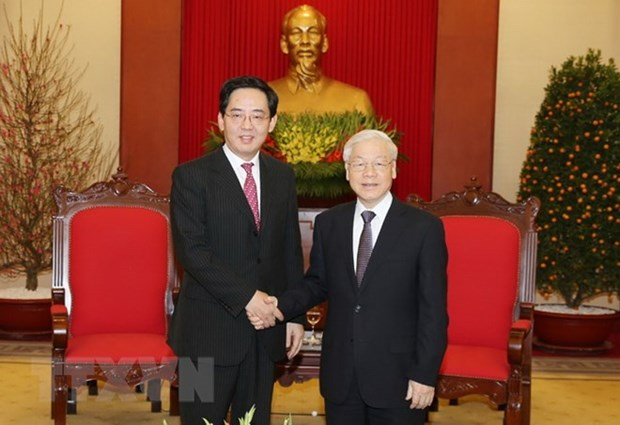 Party chief hosts outgoing Chinese ambassador hinh anh 1