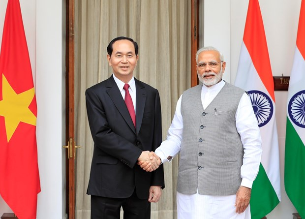 President Tran Dai Quang holds talks with Indian PM Narendra Modi hinh anh 1