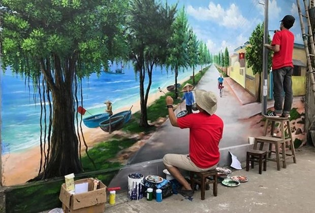 Vietnam's seventh mural village launched in central province hinh anh 1