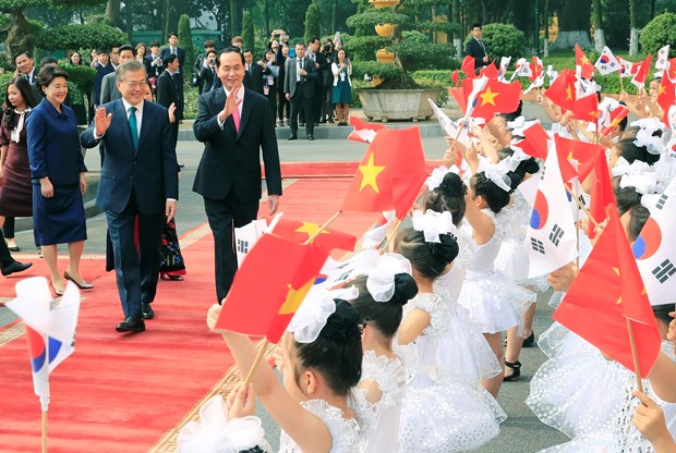 President Tran Dai Quang welcomes RoK counterpart in Hanoi hinh anh 1