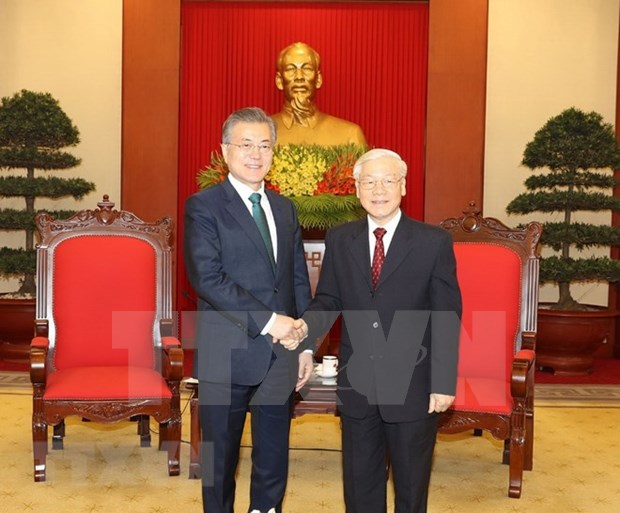 Party chief welcomes RoK President hinh anh 1