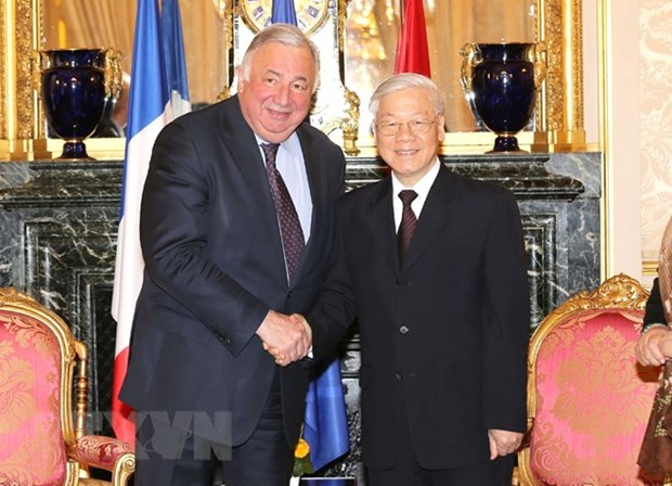 Party chief meets French Senate President hinh anh 1