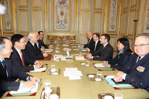 Vietnamese Party chief holds talks with French President hinh anh 1