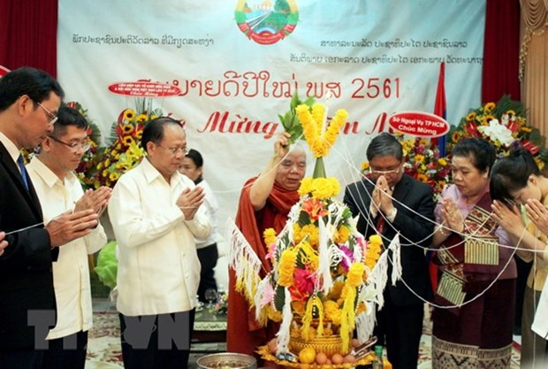 HCM City leaders extends New Year greetings to Lao officials hinh anh 1
