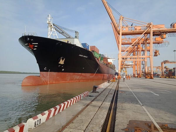 Hai Phong port welcomes largest ever container ship hinh anh 1