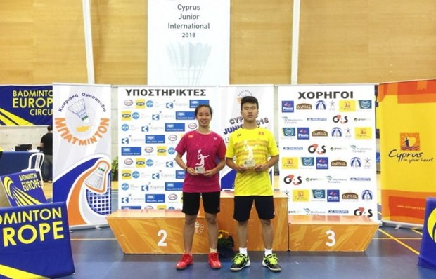 Vietnamese player wins Cyprus junior badminton event hinh anh 1