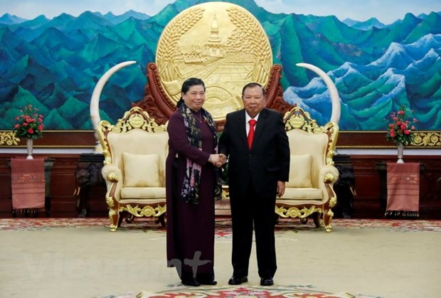 Lao leaders host Vietnamese National Assembly delegation hinh anh 1