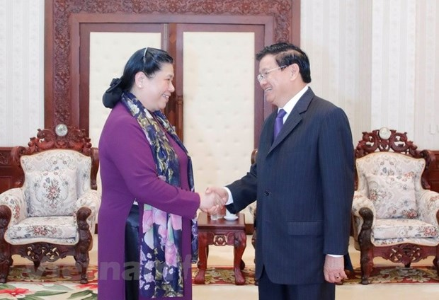 Lao leaders host Vietnamese National Assembly delegation hinh anh 2