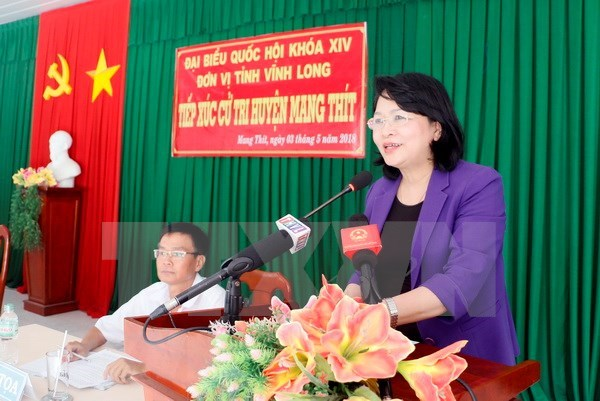 Vice President meets Vinh Long voters ahead fifth NA session hinh anh 1