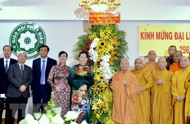 Buddhists in HCM City congratulated on Lord Buddha's birthday hinh anh 1