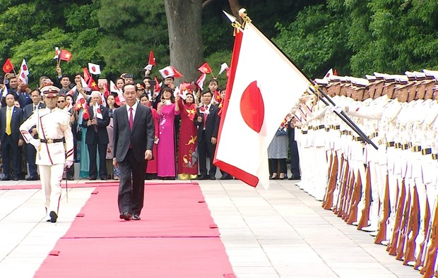 Japanese media highlights welcome ceremony for Vietnamese President hinh anh 1