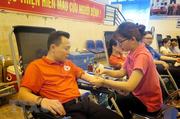 People brave severe heat to donate blood in many provinces hinh anh 1
