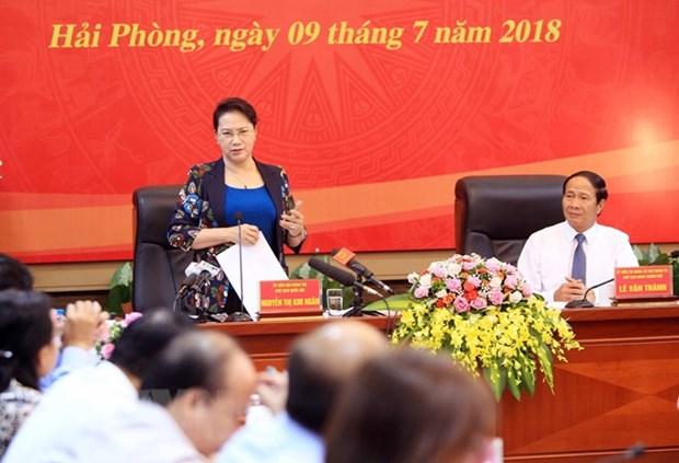 NA Chairwoman gives direction in Hai Phong hinh anh 1