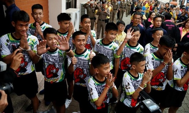 "Thai ""Wild Boars"" leave hospital, meet press hinh anh 1"