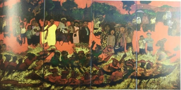 Vietnamese, French artists exhibit lacquer paintings hinh anh 1