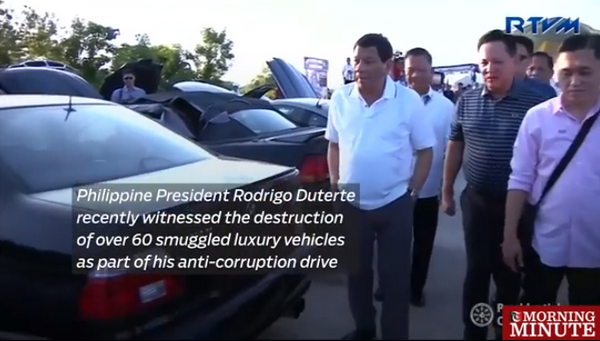 Philippines destroys dozens of luxury cars in anti-corruption campaign hinh anh 1