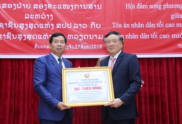Vietnam-Laos court cooperation increasingly substantive: chief justices hinh anh 1