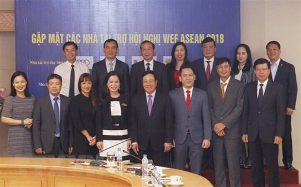Deputy PM meets WEF ASEAN 2018 sponsors hinh anh 1