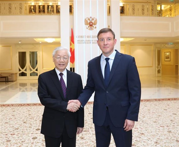 Party leader meets deputy speaker of Russian Federation Council hinh anh 1