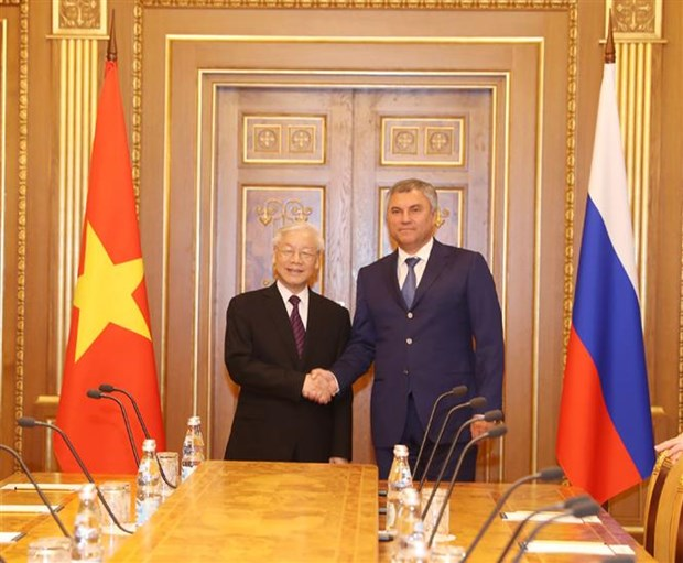 Chairman of Russian State Duma hails visit by Vietnamese Party leader hinh anh 1