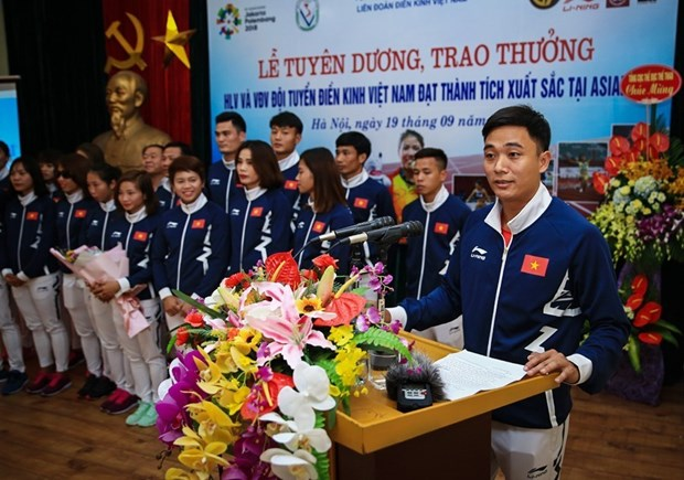 Track and field athletes honoured for ASIAD 2018 achievements hinh anh 1
