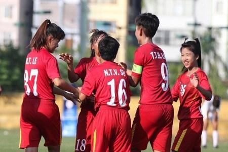 Vietnam U-16 crush Lebanon 7-0 at AFC women's champs hinh anh 1