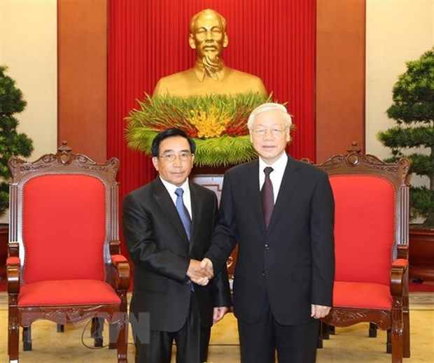 Party leader receives Lao Vice President hinh anh 1